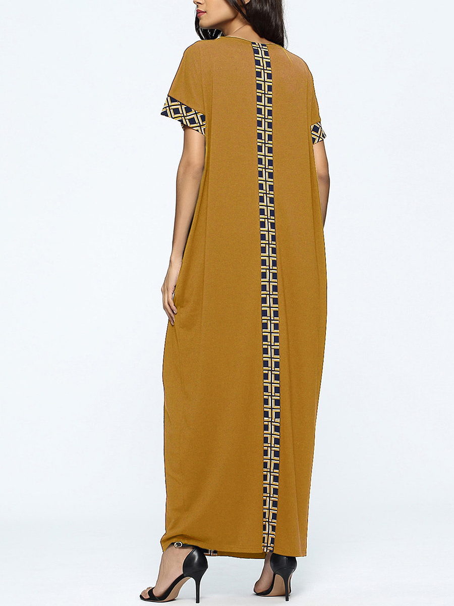 Round Neck Pocket Awesome Printed Maxi Dress