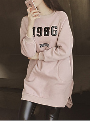 Autumn Spring  Cotton Blend  Hooded  Letters Plain  Long Sleeve Sweatshirts