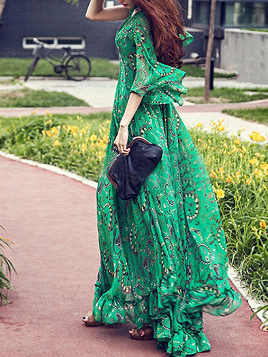 Deep V-Neck  Printed Maxi Dress