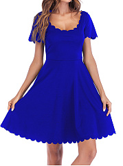 Round Neck  Scalloped Hem  Plain Skater Dress