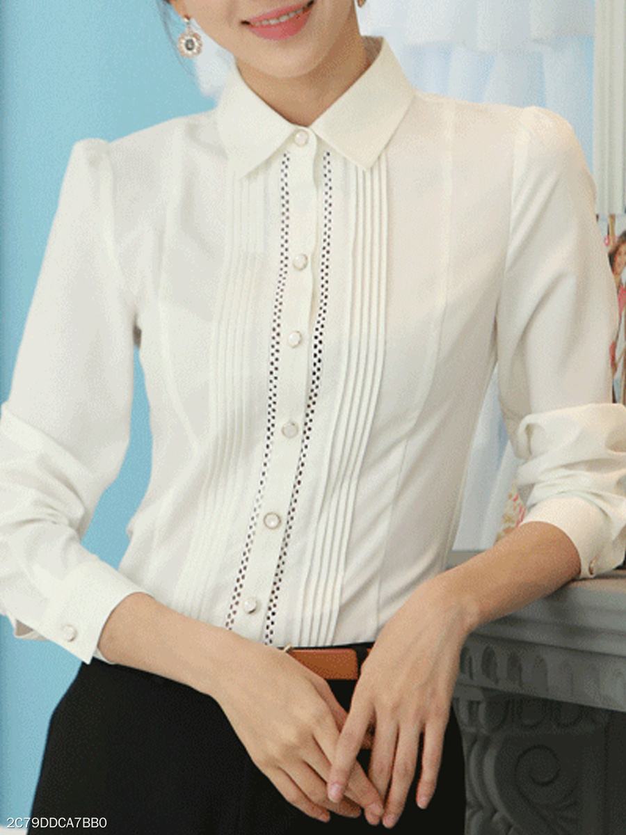 Autumn Spring  Polyester  Women  Turn Down Collar  Single Breasted  Contrast Stitching  Plain  Long Sleeve Blouses