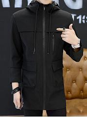 Hooded-Flap-Pocket-Plain-Men-Coat