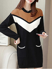 Round Neck  Casual Color Block Shift Dress