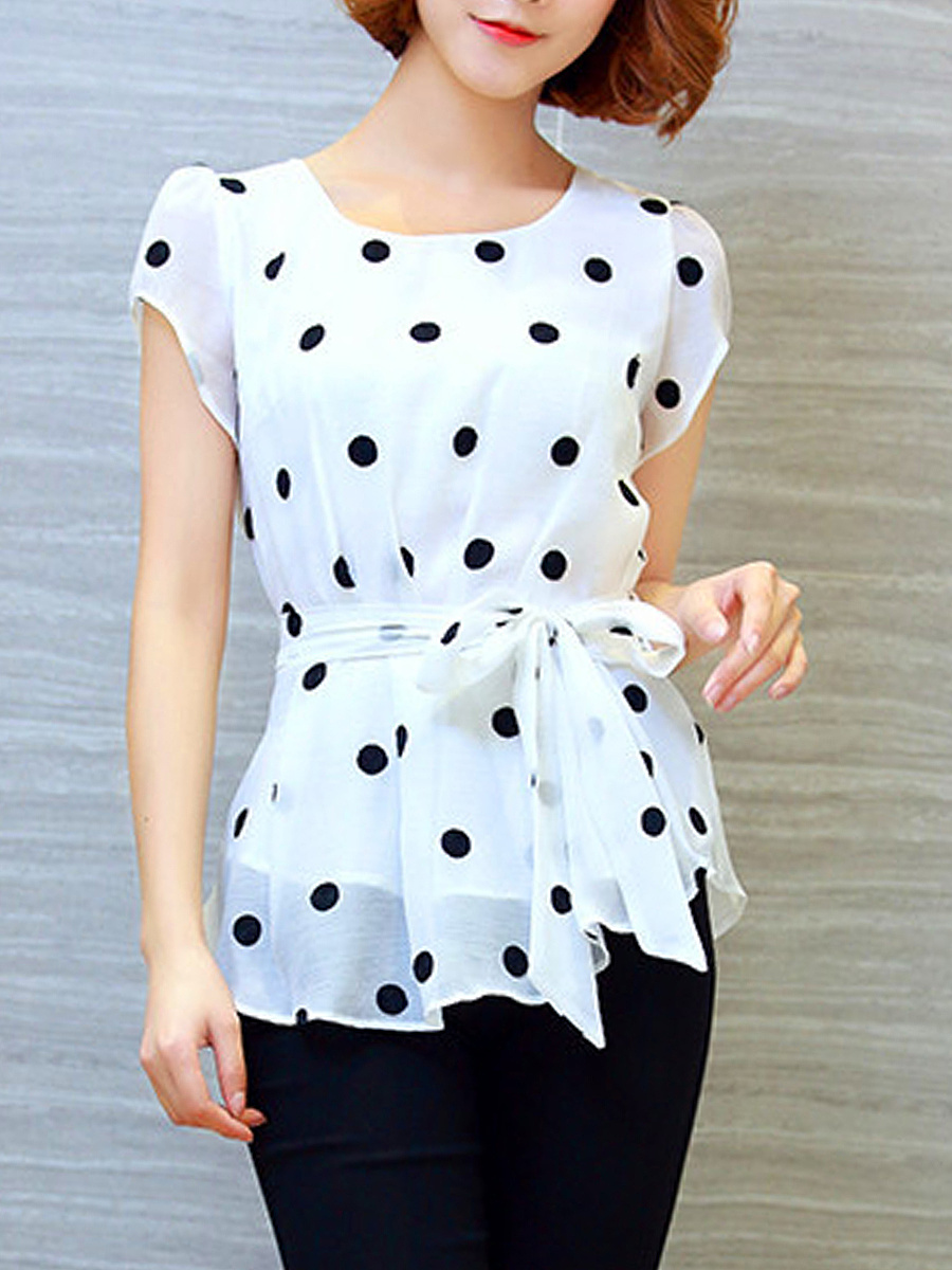 Polka Dot Round Neck Bowknot Blouse
