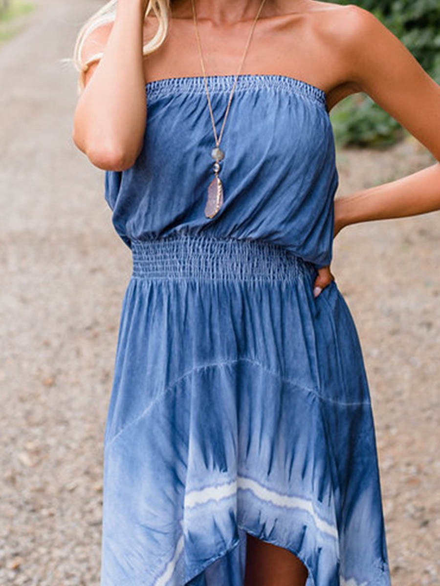 Off Shoulder  Elastic Waist  Tie/Dye Maxi Dress