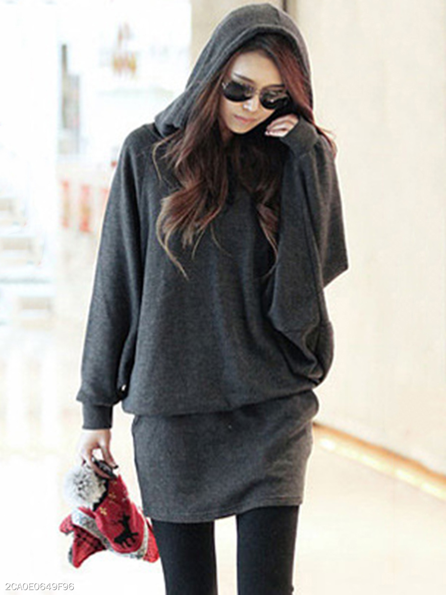 Hooded Pocket Plain Batwing Bodycon Dress