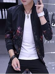 Stylish Band Collar Pocket Printed Men Jacket