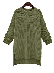 Sweater Round Neck  Plain Shift Dress