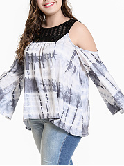 Round Neck  Decorative Lace  Tie/Dye  Sleeveless Plus Size Tops