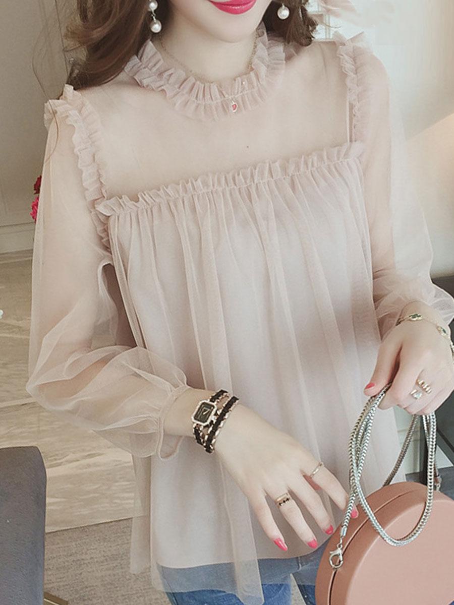 Spring Summer Mesh Women Round Neck Patchwork Plain Puff Sleeve Long Sleeve Blouses