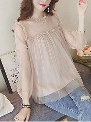 Spring Summer  Mesh  Women  Round Neck  Patchwork  Plain  Puff Sleeve  Long Sleeve Blouses
