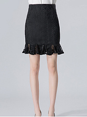 Plain  Mermaid Lace Mini Skirt