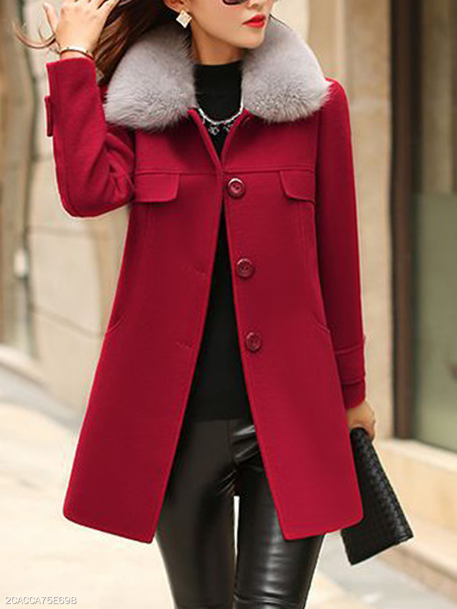 Faux Fur Collar  Single Breasted Slit Pocket  Plain  Long Sleeve Coats