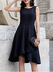 Black Round Neck Flounce Plain High-Low Skater Dress