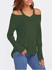 Halter  Plain Long Sleeve T-Shirts