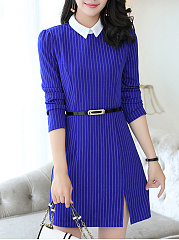 Round Neck Vertical Striped Belt Slit Bodycon Dress