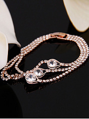 Crystal Drop Shape Layer Bracelet