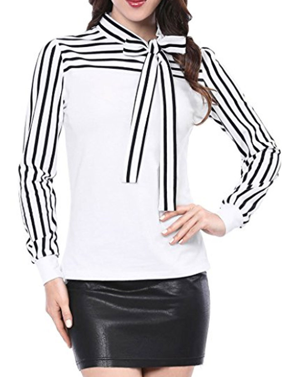 Crew Neck  Bowknot Patchwork  Striped  Puff Sleeve Long Sleeve T-Shirt