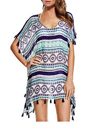 Lightweight  Abstract Print  Kimono Sleeve  Three-Quarter Sleeve Tunic
