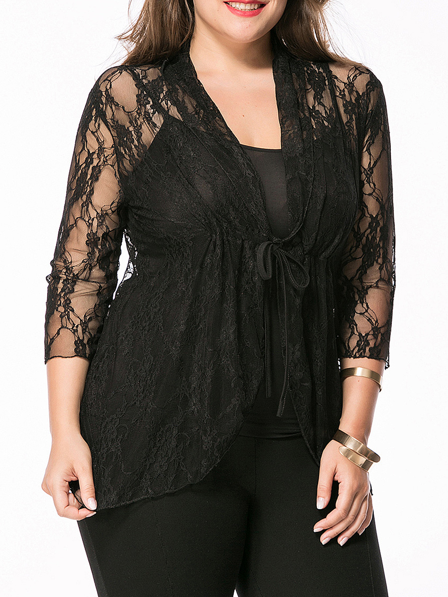 See-Through Lace Plain Plus Size Blouse