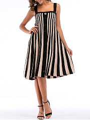 Color Block Vertical Striped Knitted Spaghetti Strap Skater Dress
