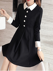 Fold Over Collar  Single Breasted  Color Block Skater Dress