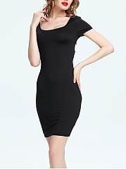 Black Scoop Neck Back Hole Bodycon Dress