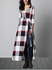 Round Neck  Side Slit  Printed  Polyester Maxi Dress