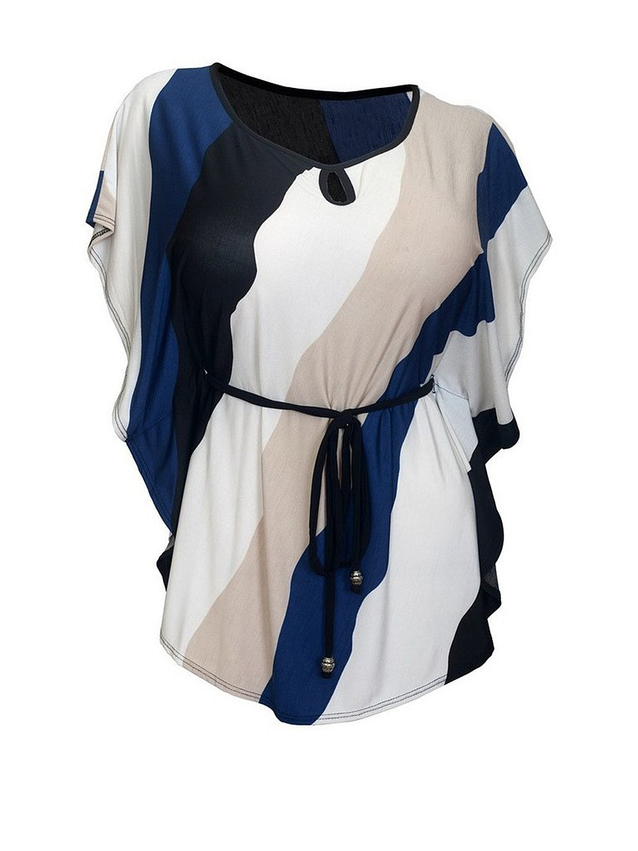 Round Neck Keyhole Color Block Striped Plus Size T-Shirt