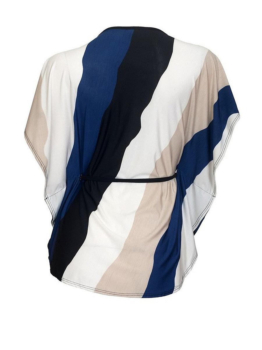 Round Neck  Keyhole  Color Block Striped Plus Size T-Shirt