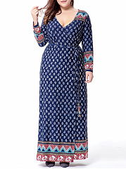 Remarkable Deep V-Neck Bohemian Plus Size Maxi Dress