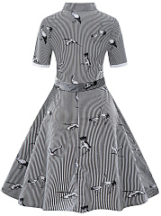 Pinstripe Belt Crane Printed Skater Dress