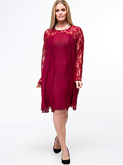 Round Neck  Patchwork  Hollow Out Plain  Plus Size Shift Dress