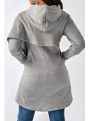 Hooded  Asymmetric Hem Patchwork  Plain Hoodies