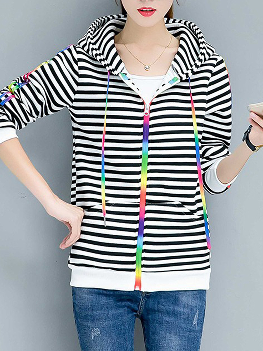 Colorful Contrast Piping Striped Hoodie