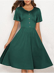 Round Neck  Decorative Button  Plain Skater Dress