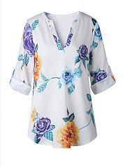 Spring Summer  Polyester  Women  V-Neck  Asymmetric Hem  Floral Printed  Roll-Up Sleeve  Half Sleeve Blouses