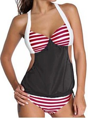Elegant Striped Color Block Halter Tankini