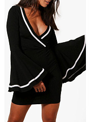 Deep V Neck  Patchwork  Bell Sleeve Bodycon Dresses