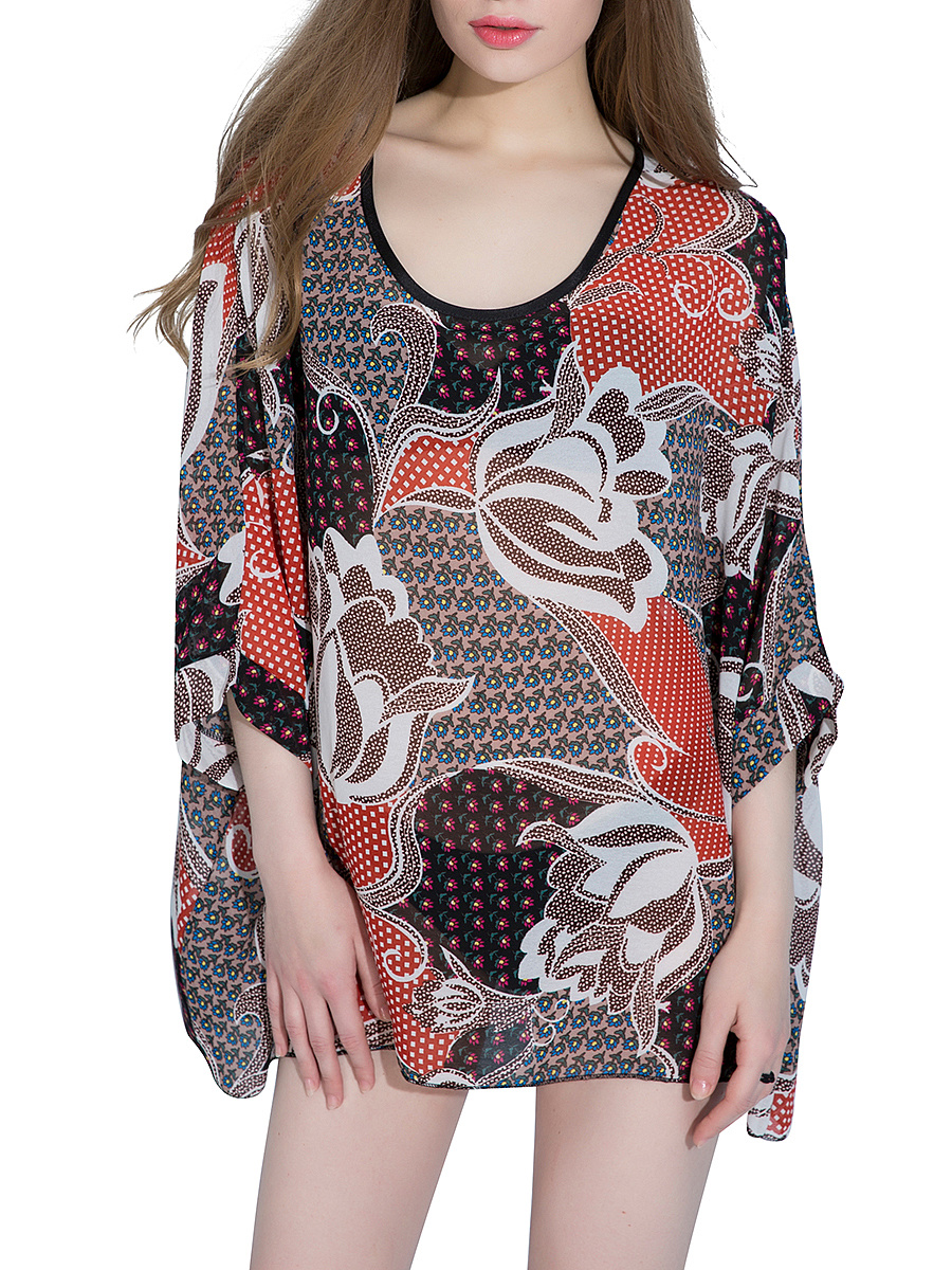 Awesome Printed Round Neck Batwing Sleeve Tunic