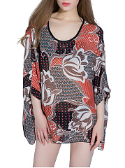 Awesome-Printed-Round-Neck-Batwing-Sleeve-Tunic