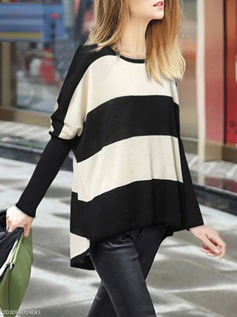 Round Neck  Asymmetric Hem  Color Block Striped  Puff Sleeve  Long Sleeve Sweaters Pullover