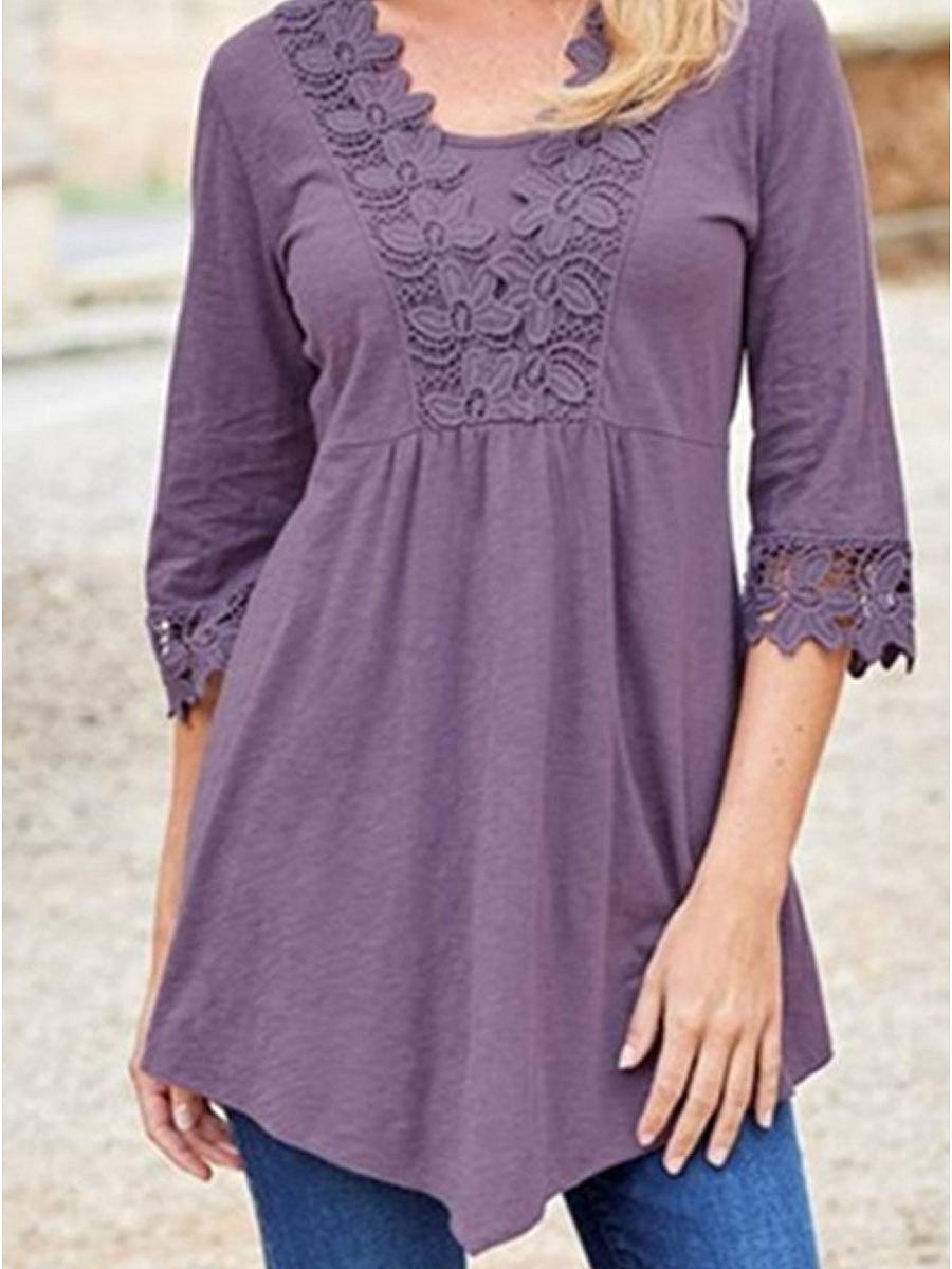 Asymmetric Hem Decorative Lace  Plain  Half Sleeve Blouses