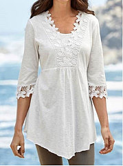 Asymmetric Hem Decorative Lace  Plain  Half Sleeve Blouses