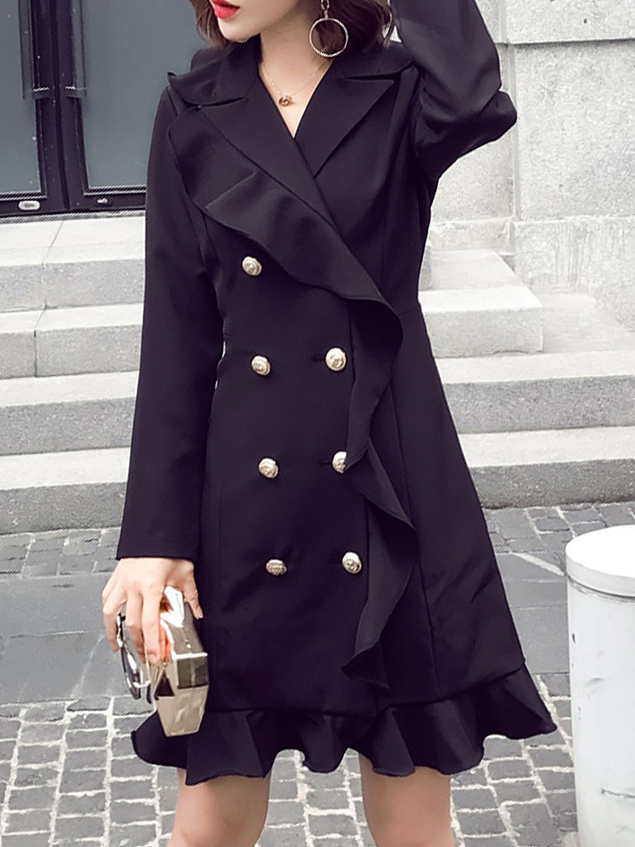 Black Lapel Double Breasted Flounce Shift Dress