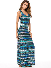 Scoop Neck Printed Sleeveless Maxi Dress