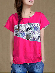 Summer  Polyester  Women  Round Neck  Asymmetric Hem  Floral Printed Short Sleeve T-Shirts