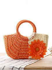 Candy Color Straw Cute Floral Vacation Bag