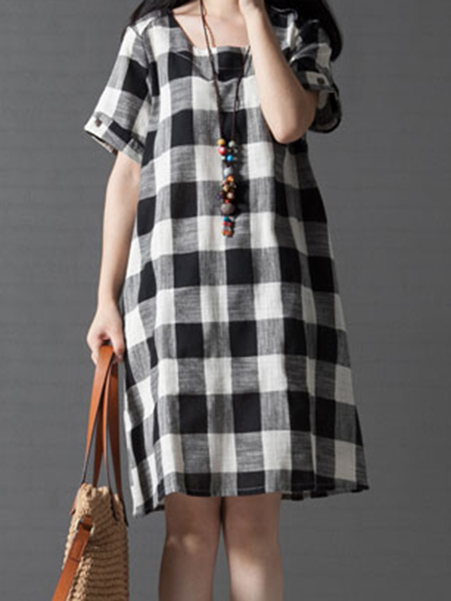 printed casual spring shift Round Neck  Printed Shift Dress