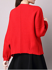 Collarless  Plain  Long Sleeve Jackets